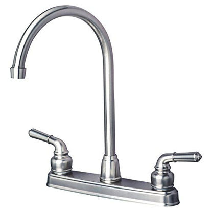Picture of Builders Shoppe 1201SS RV Mobile Home Non-Metallic High Arc Swivel Kitchen Sink Faucet Brushed Nickel Finish