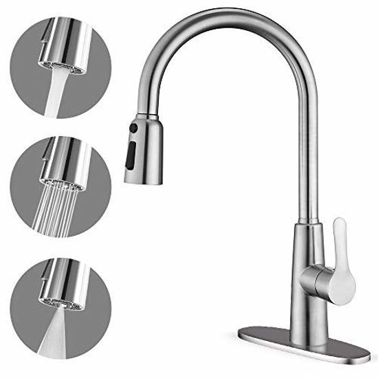 Picture of Kitchen Faucet with Pull Down Sprayer, Unique 3 Water Effect High Arc Brushed Nickel Finish, Stainless Steel Single Handle Pull Out Kitchen Sink Faucets with Removable Escutcheon