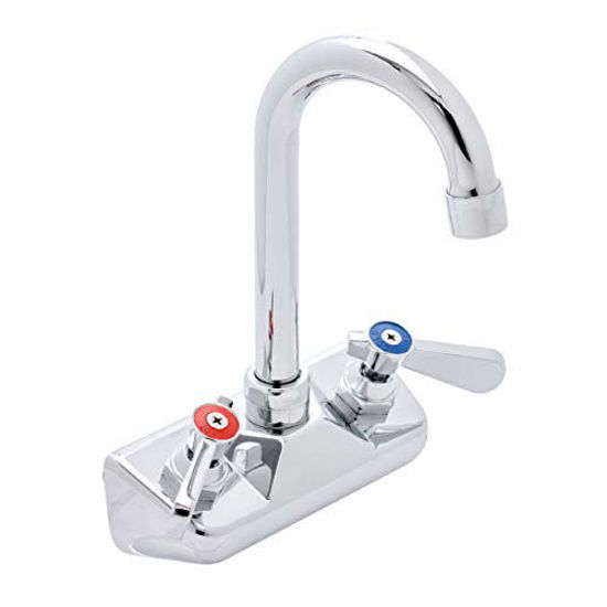 """Picture of DuraSteel Hand Sink Faucet - 4"""" Center with 3-1/2"""" Gooseneck Swing Spout Chrome Polished and Brass Constructed Body, Lever Handle"""