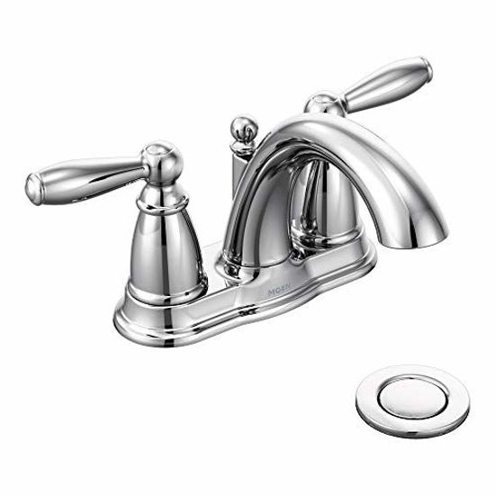 Picture of Moen 6610 Brantford Two-Handle Low-Arc Centerset Bathroom Faucet with Drain Assembly, Chrome