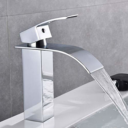 Picture of Chrome Bathroom Faucet Waterfall Single Handle Single Hole Bathroom Sink Faucet, Washbasin Faucet with Deck